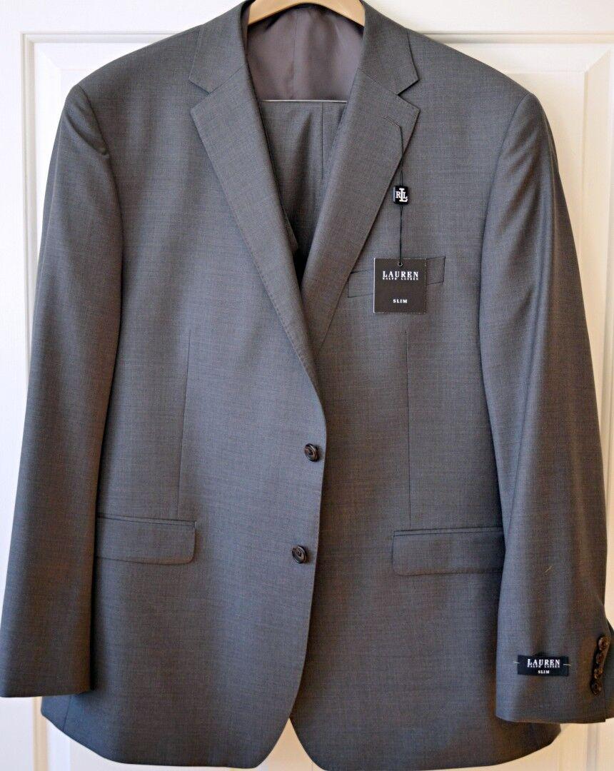 NWT Ralph Lauren  Herren 3 Pcs Suit 50R 45W Slim Fit Grau 100% Wool