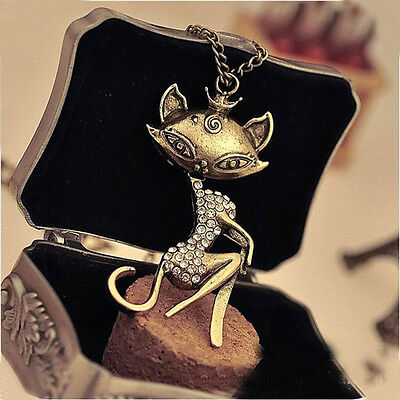 Fashion Women Cute Bronze Vintage Crystal Cat Long Sweater Pendant Necklace
