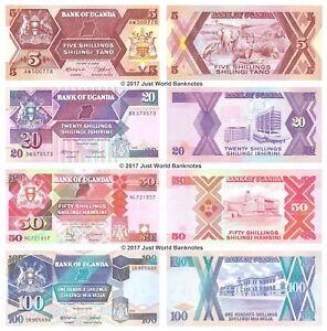 Uganda-5-20-50-100-chelines-Conjunto-de-4-billetes-4-un-Universal