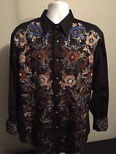 EUC ROBERT GRAHAM  Sz. XL  Men's Black Embroidered Shirt RN#81913 CA#26689