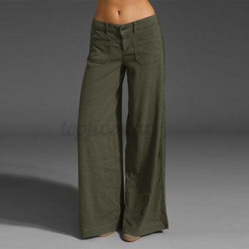 UK Women Wide Leg Long Loose Pants Soft Yoga Lounge Sports Palazzo Trousers Plus
