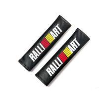 Jdm 2x Ralliart Carbon Fiber Style Seat Belt Cover Cushion Shoulder Pads Evo