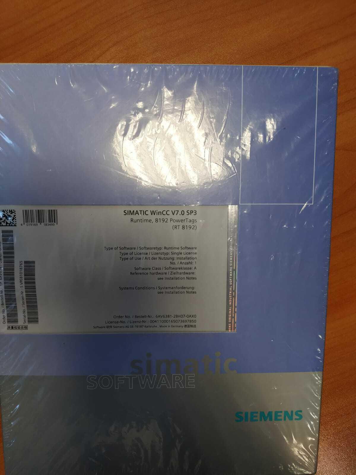 WinCC system software V7 0 SP3, RT 8192 6AV6381-2BH07-0AX0 SEALED FAST  SHIPPING