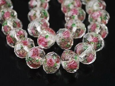 10pcs 12x8mm Faceted Lampwork Glass Charms Flower Findings Loose Beads 32 Colors