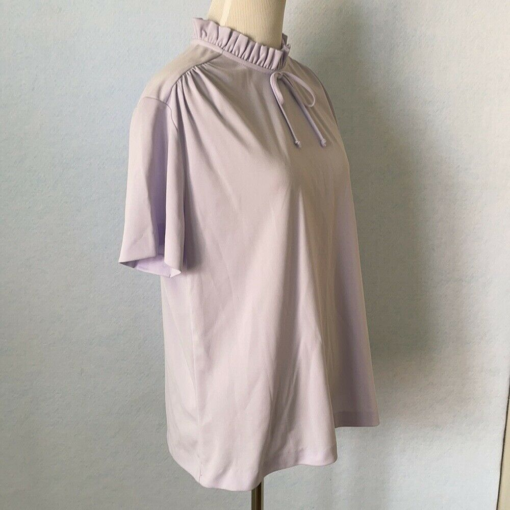 Graff Vintage Lilac Ruffled High Tie Neck Blouse,… - image 4
