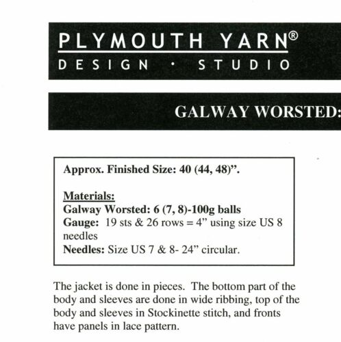 Plymouth Knitting Pattern 1503 Galaxy Worsted Lace Panel Jacket for Women
