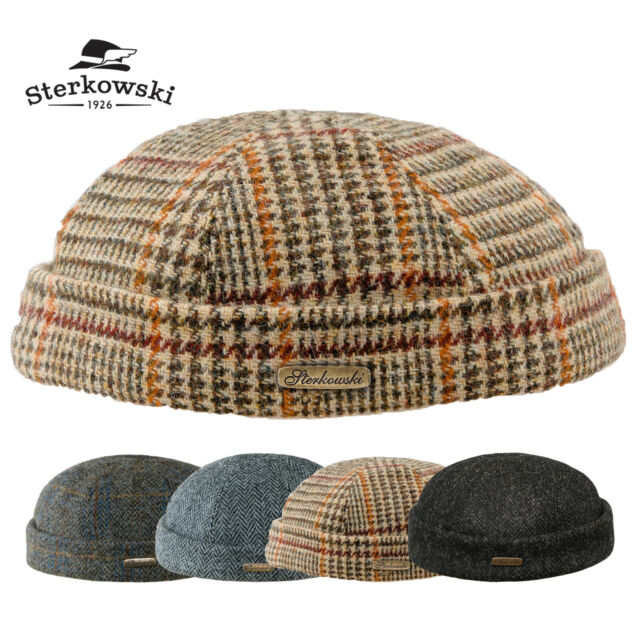 e26e92226 Sterkowski DOCKER Harris Tweed Beanie Hat Winter Autumn Fisherman Mariner