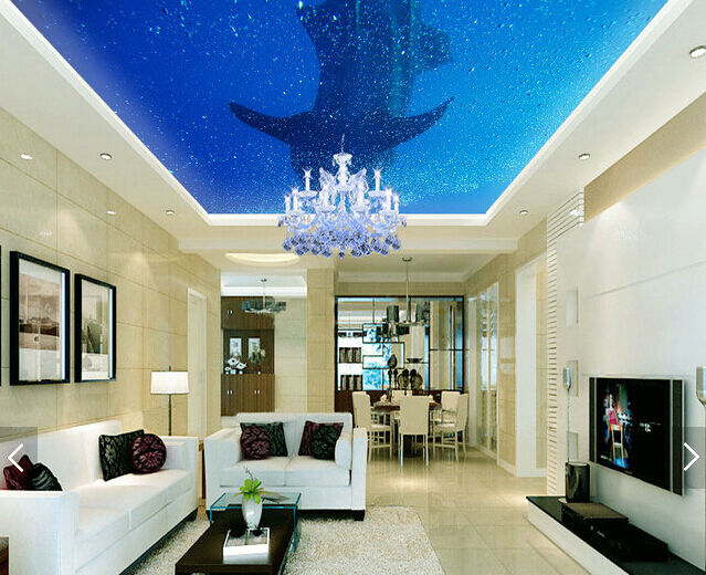 3D Whale Ceiling WallPaper Murals Wall Print Decal Deco AJ WALLPAPER AU