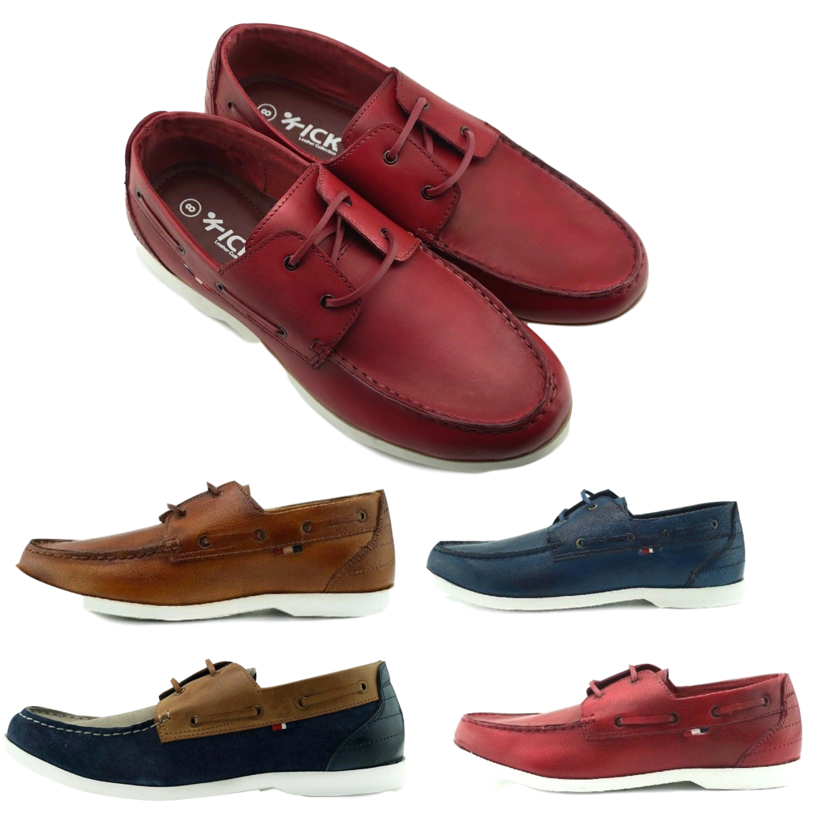 Mens Leather Casual Smart Lace Up Walking Work Moccasin Driving Boat Shoes Size
