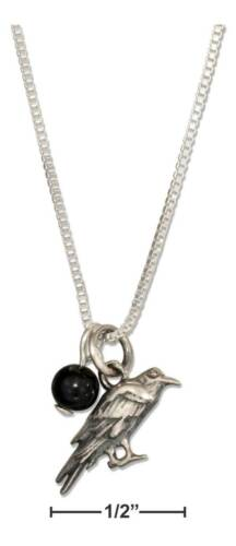"""Genuine .925 Sterling Silver 18/"""" Raven Pendant Necklace With Black Onyx Bead"""