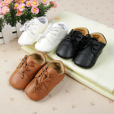 Lovely Infants Baby PU Leather Crib Shoes Boys Girls Anti Slip Lace Shoes 0-12M
