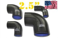 """4PLY Silicone 90 Degree Elbow Connector Joiner Hose 64mm 2.5"""" 2 1/2"""" Black"""