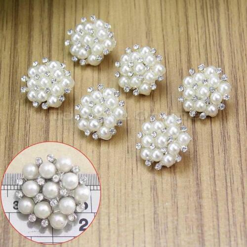 6pcs Strass Faux Perle Fleur Tige Boutons à coudre Silver Tone Craft 17 mm
