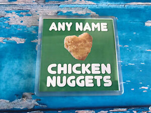 I-love-Chicken-Nuggets-Green-Personalised-Coaster-Drink-Coaster-Add-name