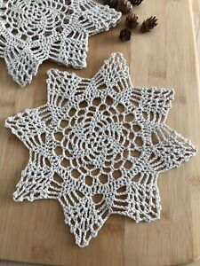 12Pcs/Lot Vintage Hand Crochet Lace Doilies Coasters Cotton Small 20cm Item3