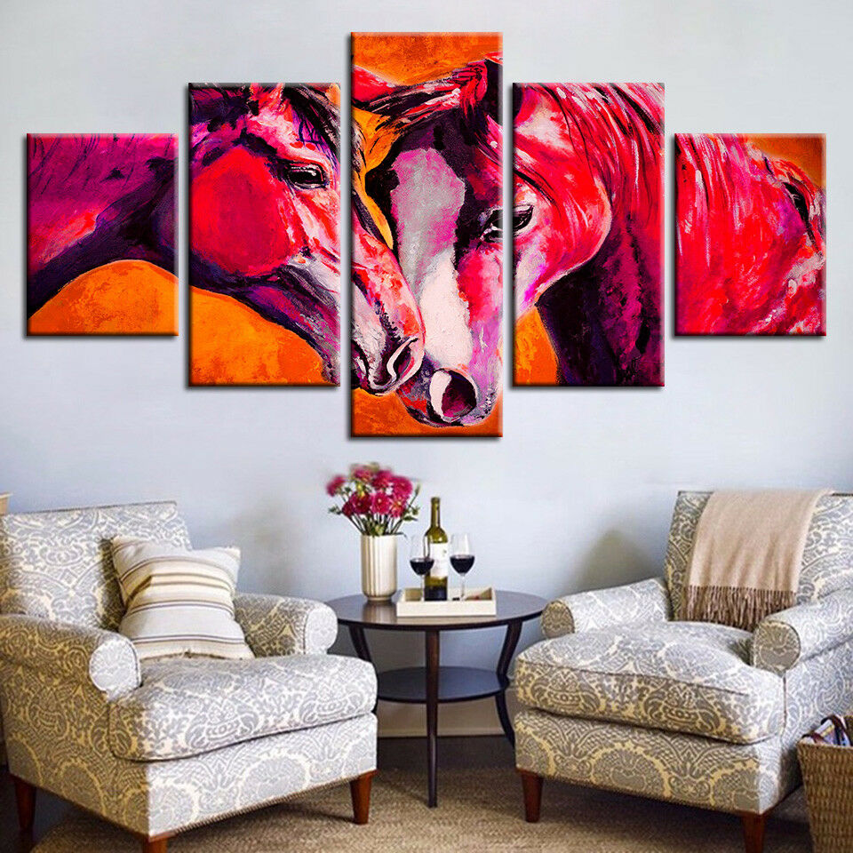 Horse Couple Abstract Painting 5 Piece Canvas Print Wall Art