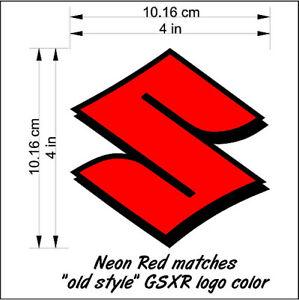 Suzuki S Logo neon Red decals gsxr 1000 sticker 1100 85 rmz 600 gsxs 750 drz 450