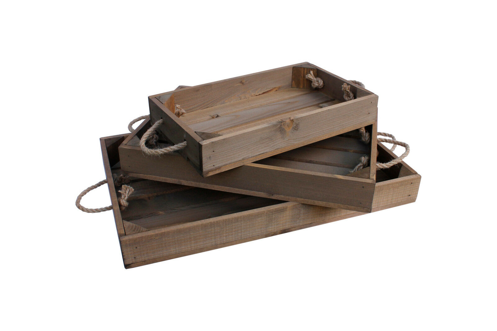 Christmas Red Vintage Style Apple Crate Wooden Box Display With Rope Handles