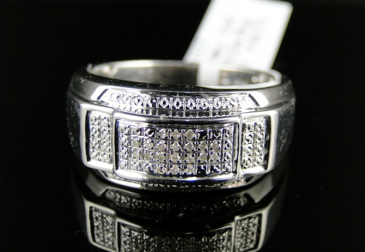 MENS .925 WHITE gold FINISH GENUINE WHITE DIAMOND PAVE FASHION PINKY RING .10CT