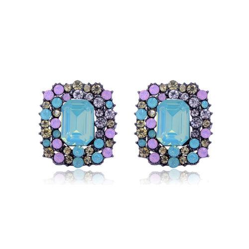 Elegant Women Geometric Square Rhinestone Crystal Seed Beads Ear Stud Earrings