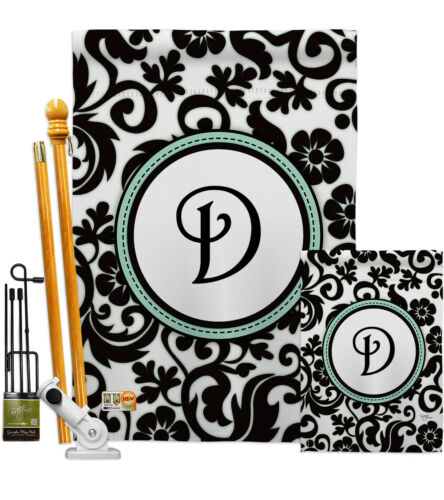 Details about  /Damask D Initial Simply Beauty Monogram First Last Name Garden House Yard Flag