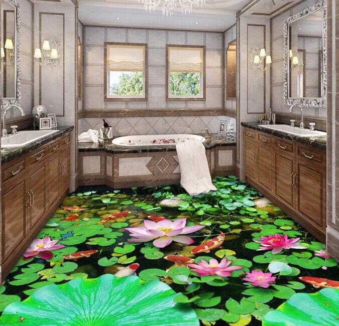 3D Lotus Bush fishs 5 Piso impresión de parojo de papel pintado mural 5D AJ Wallpaper Reino Unido Limón