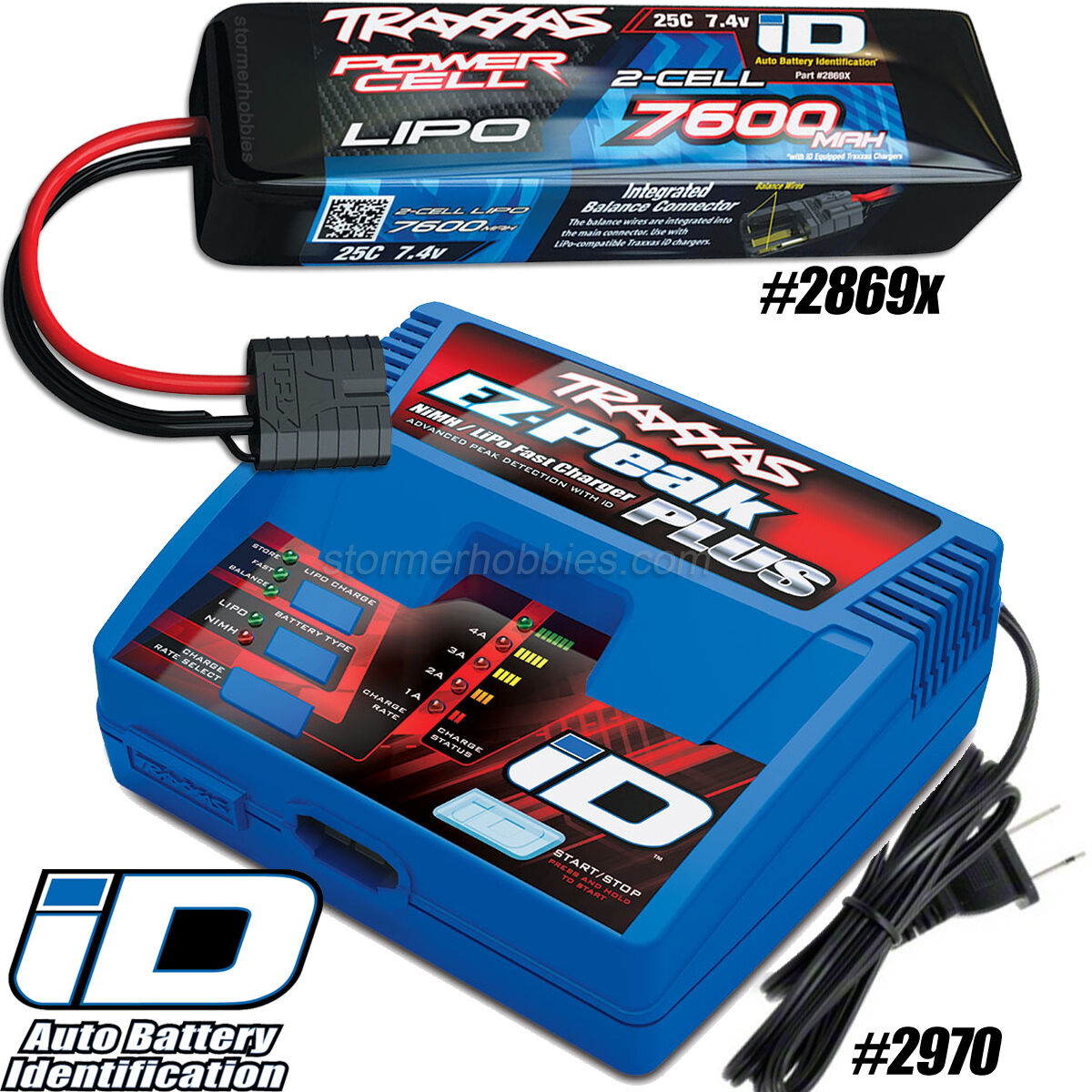 Traxxas EZ-Peak Plus Charger 2970 and 2S 7.4V 7600mAh 25C Lipo Battery 2869x