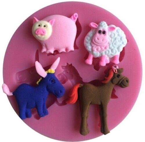 Silicone 3d Baking Dish Farm 4 x Fondant Cake Cookie Cutter Decoration Birthday