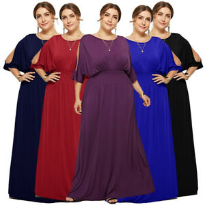 Plus-Size-Women-Batwing-Sleeve-Maxi-Long-Loose-Evening-Solid-Party-Shirt-Dresses