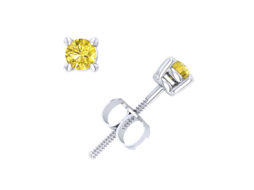 Real 0.33Ct Round Yellow Diamond Basket Stud Earrings 14k White Gold Prong I1