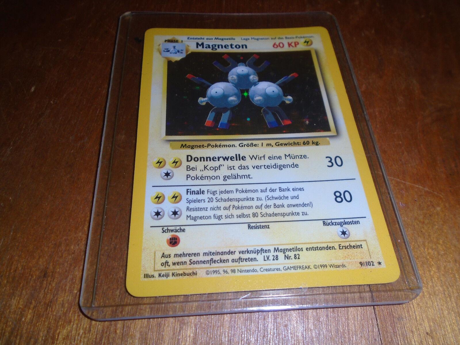 Pokémon magneton 1. ausgabe deutsche basis - satz holofoil karte nie gespielt   9.