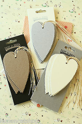 East of India plain HEART shaped tags shabby chic strung thick card gift labels