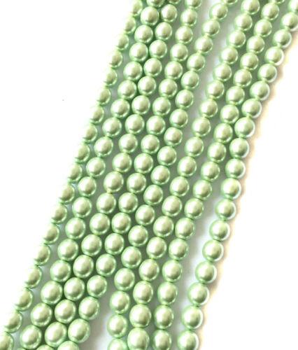 80 Genuine Traditional Preciosa Czech Pearl Lt Mint Glass Beads-6mm Beads
