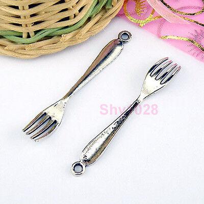 15Pcs Tibetan Silver Fork Charms Pendants 8.5x54.5mm LA230