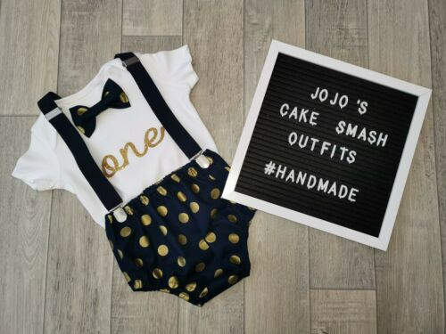 Luxury Baby Boys 1st Birthday Cake Smash Outfit Navy blue and gold.Photo Prop