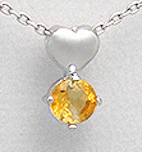 1.3g Solid Sterling Silver Genuine Natural Orange Citrine Heart 14mm Pendant