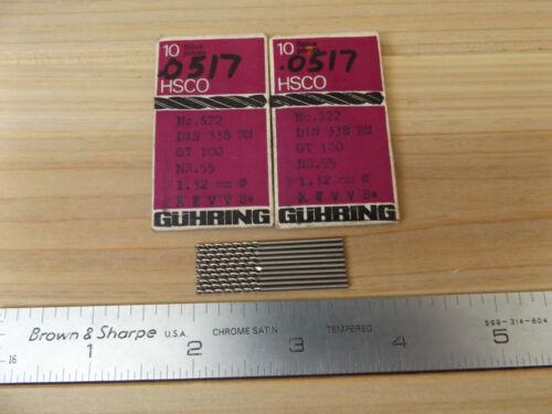 """.0517/"""" HSCO Spiral Jobber Length Pack Of 10 Guhring 1.32mm Germany"""