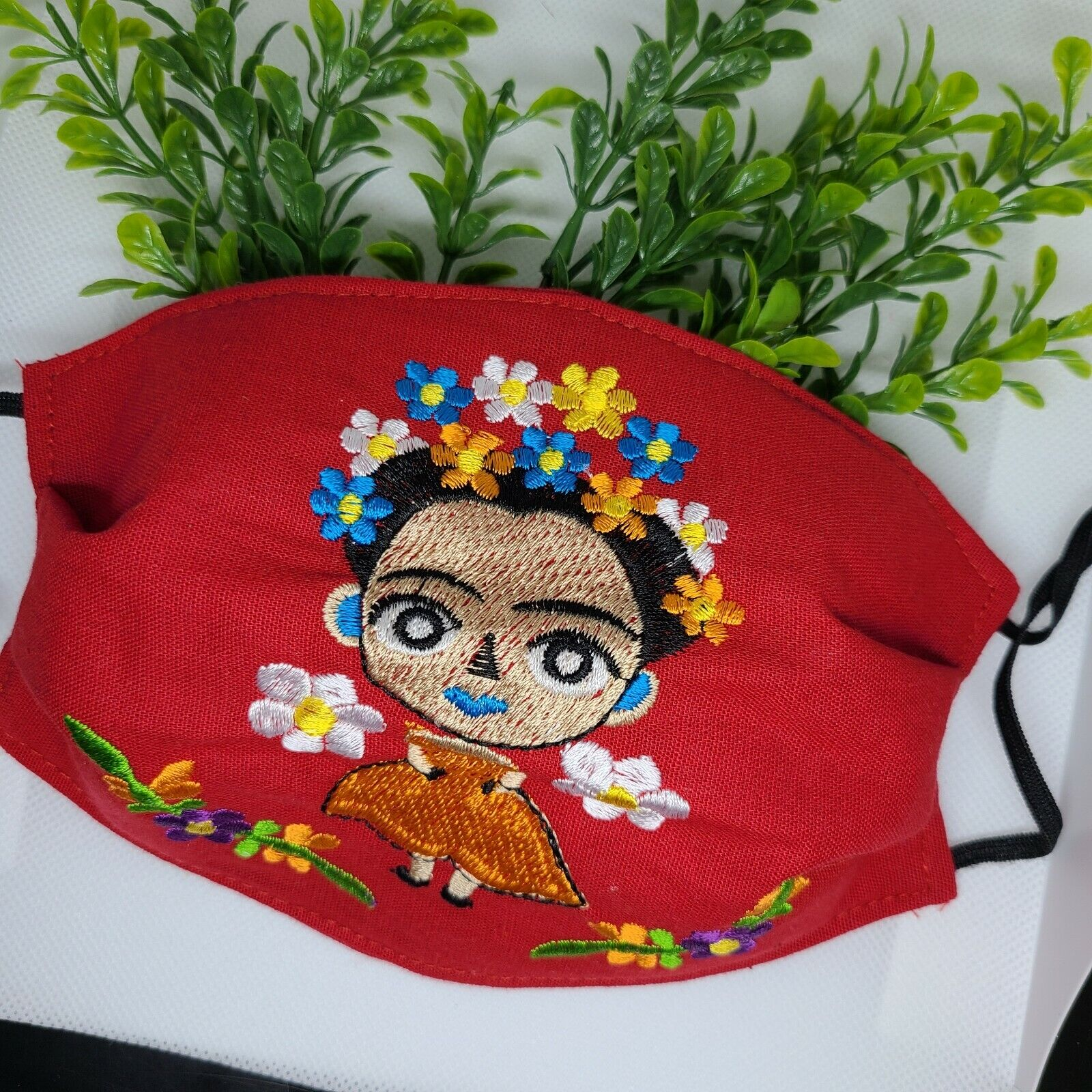 Woman Face Mask Red Embroired Handmade Reusable