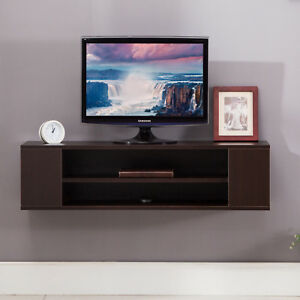 Details About Wood Floating Wall Mount Shelves Tv Stand Media Console With 2 Tier Shelf