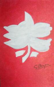 George-Braque-1959-Fleur-Blanc-signed-original-watercolor-study-heavy-paper-COA