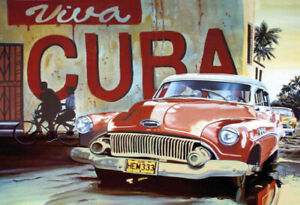 Viva-Cuba-Classic-Car-Red-Tin-Sign-Shield-Arched-7-8x11-13-16in-F0383