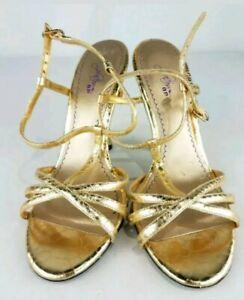 BP-Platinum-Gold-Open-Toe-Heels-Size-7-5M