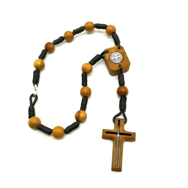 Brown Wood One Decade Auto Rosary For Rear View Mirror