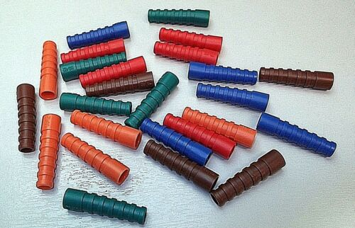 BNC Coaxial Bottes Strain Relief Boot RG59 RG62 PSF1//3M 4 x Couleurs x 24pcs Mixte