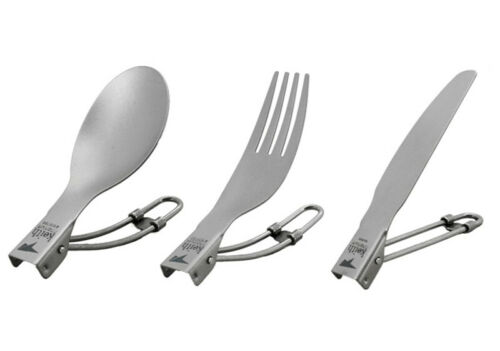 Keith Titanium Folding Spoon Fork Outdoor Camp Cutlery Flatware Mess Kit