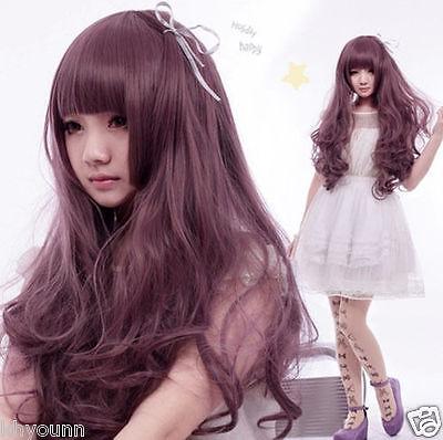 New Long Full Wigs Lolita Curly Wavy Purple Anime Harajuku Cosplay Party wig