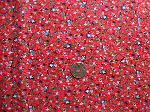 1-2-YARD-RED-FLORAL-NAVY-BLUE-PINK-WHITE-FLOWERS-QUILTING-FABRIC