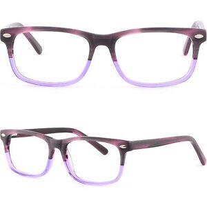 Rechteckig-Damen-Brille-Kunststoff-Brillengestell-Fassung-Federscharnieren-Lila