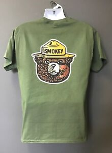 defb6becd53 USFS FOREST SERVICE Agriculture Dept SMOKEY the BEAR OD Green Short ...