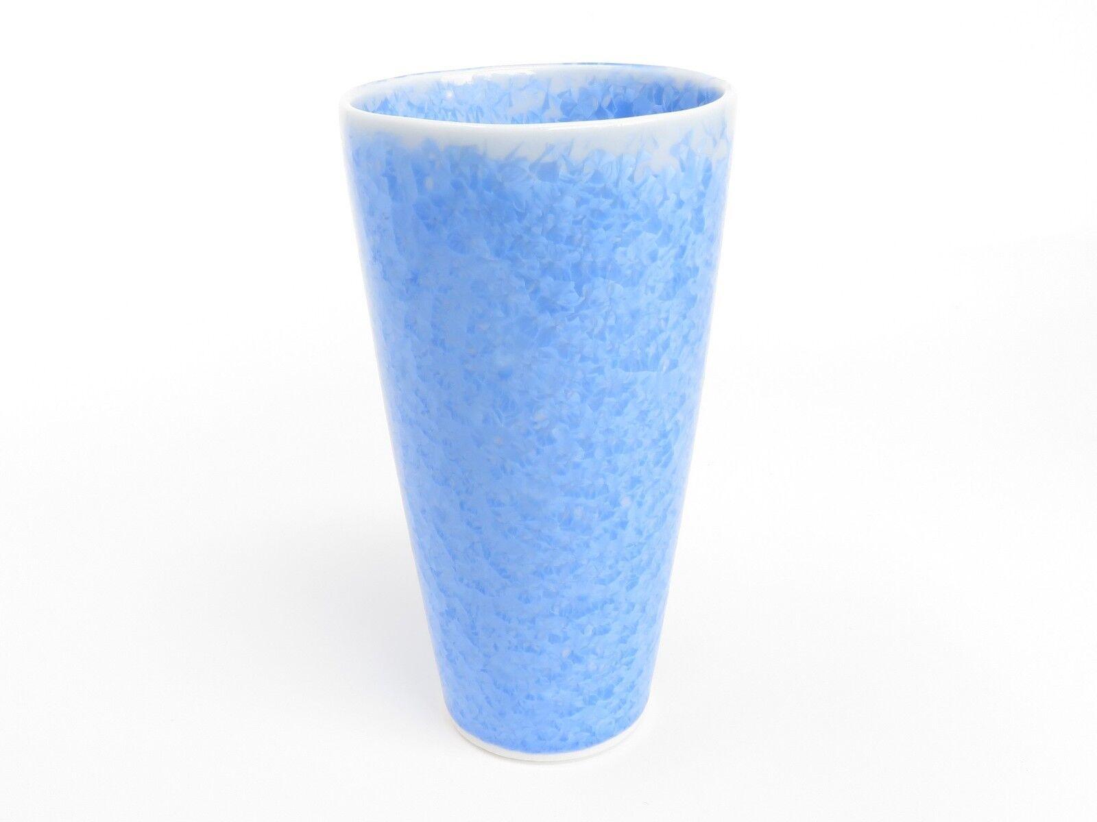 bleu pottery Bière Tasse avec fleur en forme de cristaux (handmade in Kyoto)